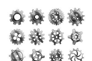 Realistic glossy metal cogwheels