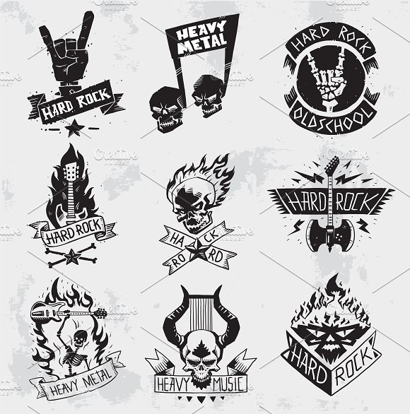 Heavy Metal Music Symbol Vector Illustrations Creative Market