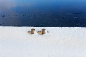 Golden dock. Winter