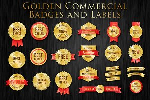 Vector Golden Commercial Label Set