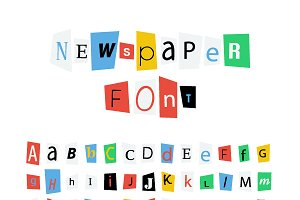 Colorful newspaper letters font