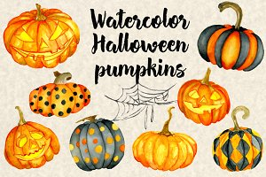 Halloween watercolor pumpkins