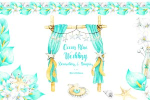 Ocean Blue Wedding Cliparts