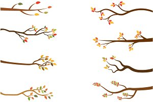 Autumn tree branches, Fall set
