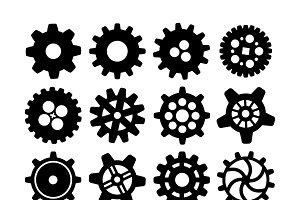 Different silhouettes of cogwheels