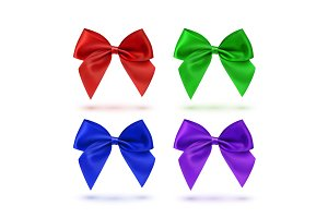 Set of four colorful bows.