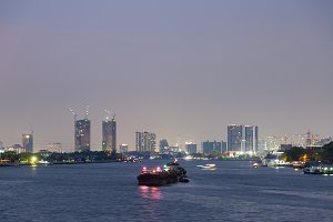Bangkok city and river evening