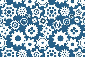 Cogwheels on blue, seamless pattern