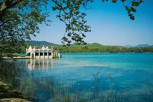 Boathouse on a beautiful lake