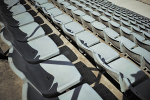 Stadium seats shot from above