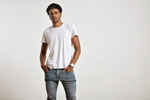 Attractive male model presenting blank white t-shirt