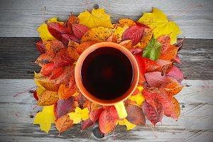 A cup of black tea on leaves
