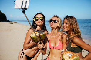 Women pouting for selfie