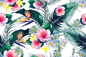 Tropical flowers,palm leaves pattern