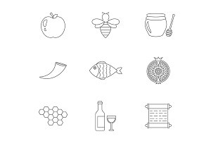 Rosh Hashanah linear icons