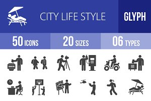 50 City Lifestyle Glyph Icons