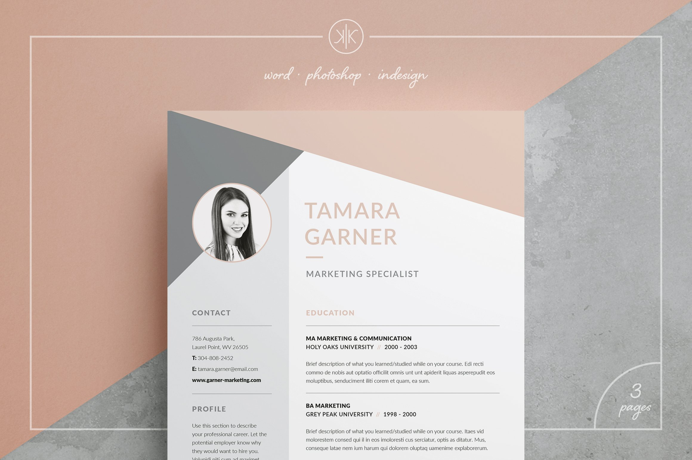 feminine resume photos graphics fonts themes templates resume cv tamara