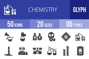 50 Chemistry Glyph Icons