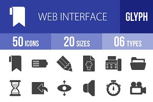 50 Web Interface Glyph Icons