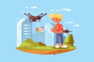 Delivery using quadrocopters