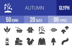 50 Autumn Glyph Icons
