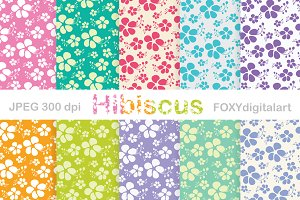 Tropical Hibiscus Digital Paper
