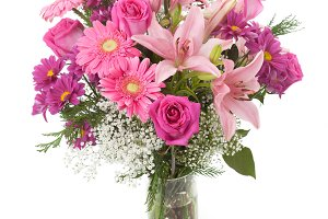 Pink flowers bunch in a vase