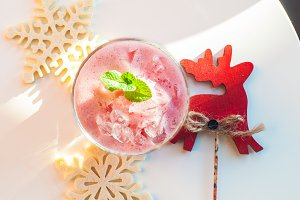 Christmas strawberry cocktail
