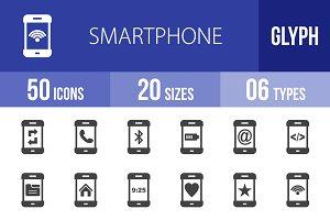 50 Smartphone Glyph Icons