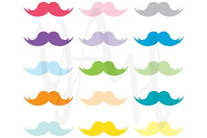 Rainbow Mustaches Clip Art