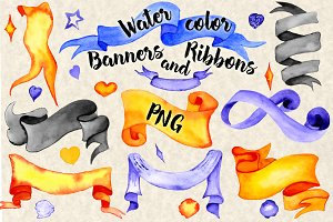 Halloween Watercolor Ribbon Banners