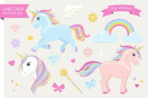 Magic Unicorn Set. EPS+20 PNG.