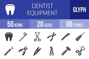 50 Dentist Glyph Icons