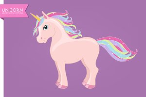Pink unicorn with rainbow main