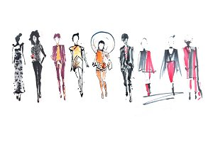 10 Sketch of fashion illustration