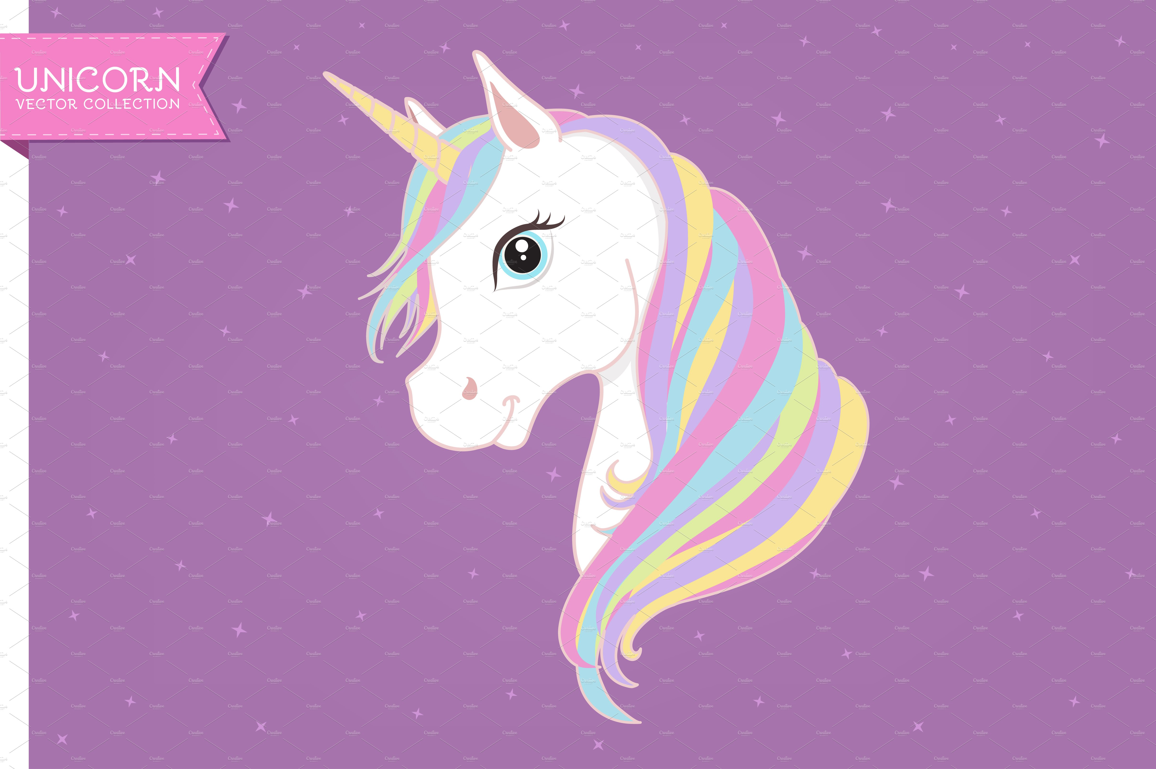White Unicorn Vector Head Illustrations Creative Market