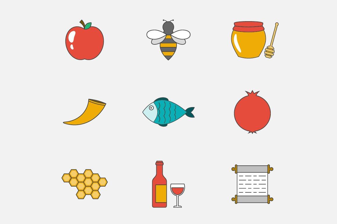 Rosh hashanah flat line icons icons creative market kristyandbryce Choice Image