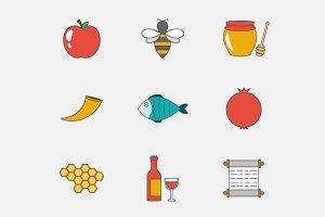 Rosh Hashanah flat line icons