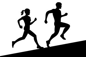 Men and Women Running Silhouette