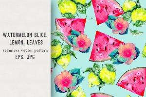Watermelon,lemon, hibiscus pattern