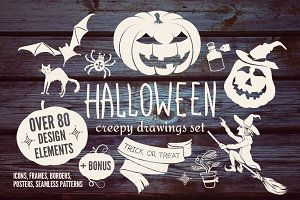 Halloween Big Vector Drawing Set