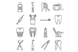 Dental care icons set, outline style