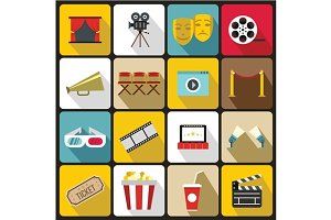 Cinema icons set, flat style
