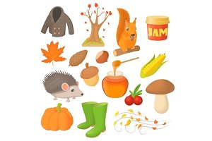 Autumn icons set in cartoon style