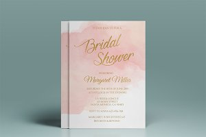pink watercolor bridal shower invitation templates creative market