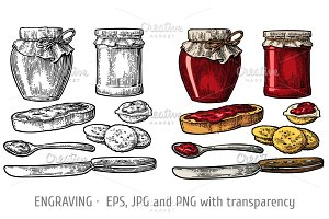 Jar, spoon, knife, bread with jam