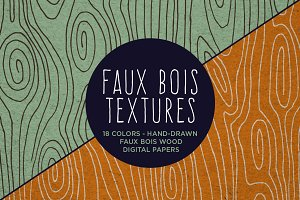Faux Bois Wood Hand Drawn Patterns