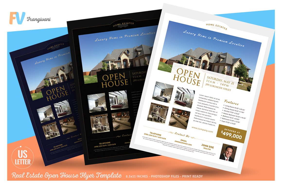 real estate open house flyer flyer templates creative market. Black Bedroom Furniture Sets. Home Design Ideas