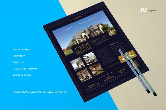 Real estate open house flyer flyer templates creative market pronofoot35fo Gallery