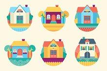 9 garden houses flat icons